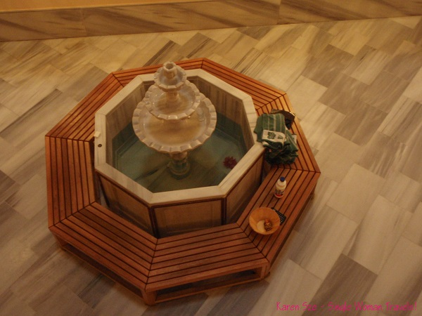 A little fountain is the focal point of the Ladies lounge. at Cemberlitas Hamami