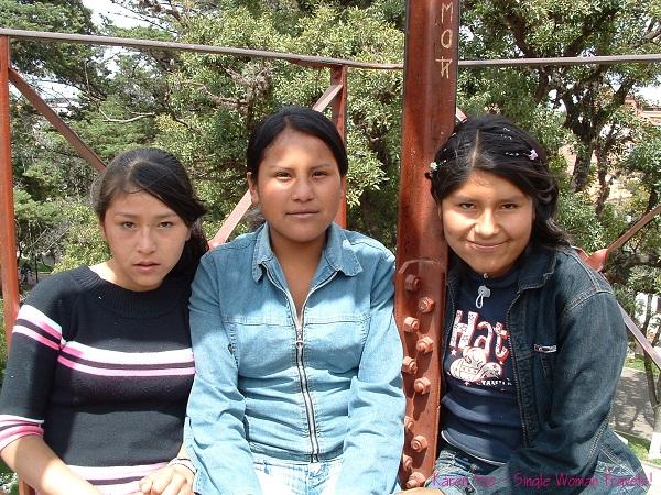 Bolivian girls at the playground