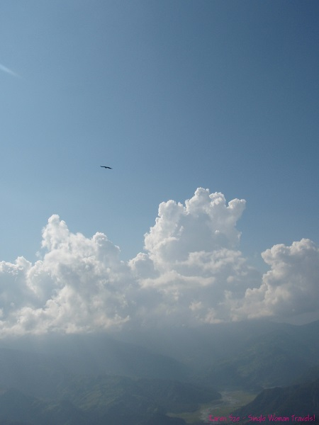 Eagle glides in sky over Pokhara, Nepal