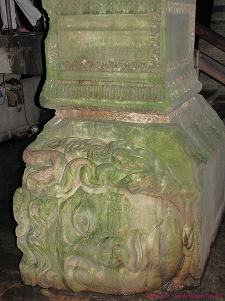 Oh Medusa - sculpture of Medusa is used as base of column in Basilica Cistern, Istanbul, Turkey