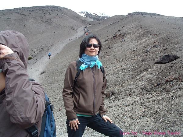 Single Woman ready to hike up Cotopaxi, Ecuador