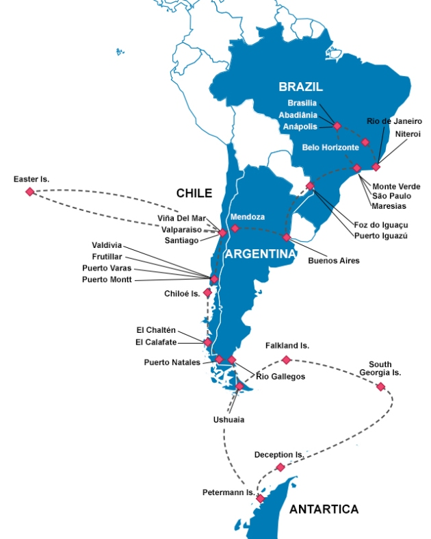 By mid-April, this was my accomplishments in South America + Antarctica