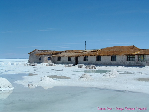 The Salt Hotel built from solid blocks of salt. Sleeping on salt beds. Eating at salt tables while sitting on salt chairs! in Bolivia