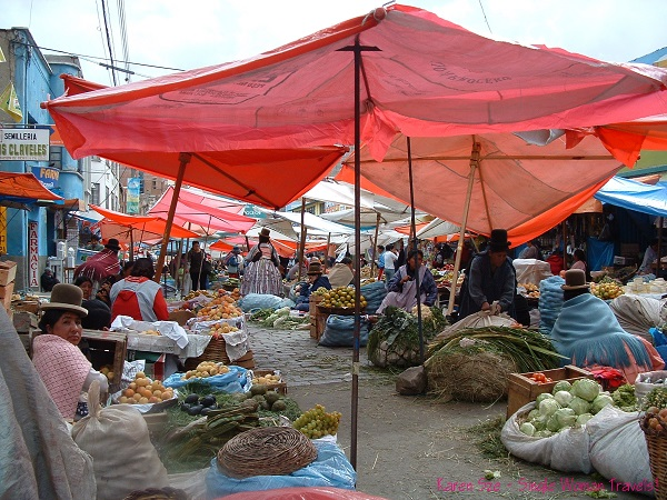 Typical market in Bolivia