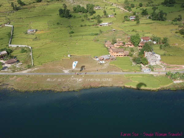View of paragliding landing area from above in Pokhara, Nepal