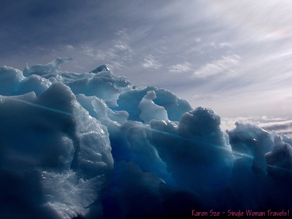 Close-up of a blue iceberg in Antarctica