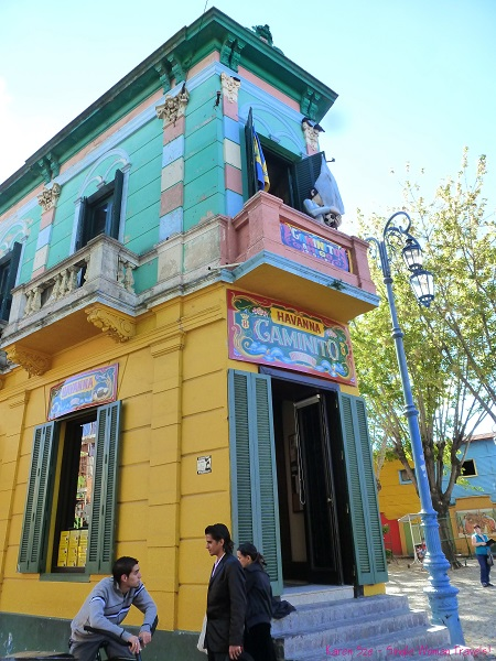 Colorful building with signage of El Caminito in La Boca, Buenos Aires, Argentina