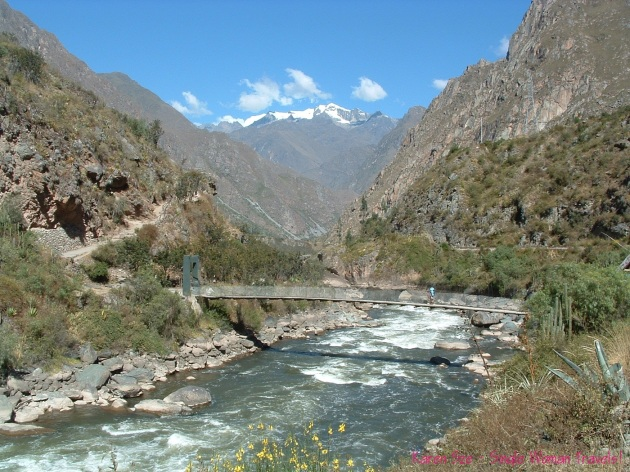 The beautiful river view on Day 1 of the Inca trail hike in Peru.