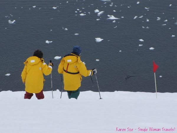 Decending from the ridge (hiking in Antarctica)
