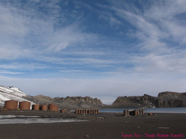 Deception island has pockets of geothermal activity, and an abandoned whaling station with giant storage tanks (Half moon bay)