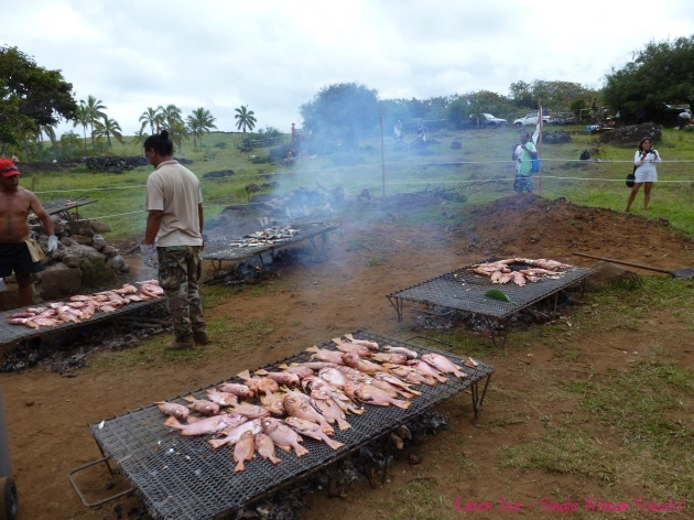 Grilling freshly caught fish at 2013 Tapati festival, Easter Island (Rapa Nui), Chile