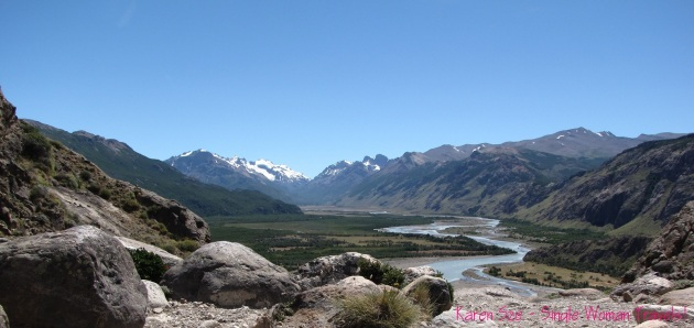View of El Chalten river valley from trails to Laguna Capri and Mt Fitzroy