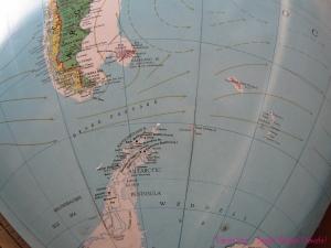 Globe South America Antarctica Drake passage map