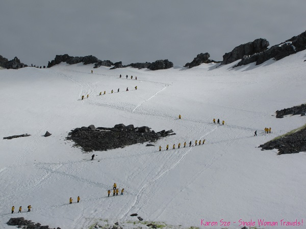 Hiking up to the ridge at Orne Harbour, Antarctica