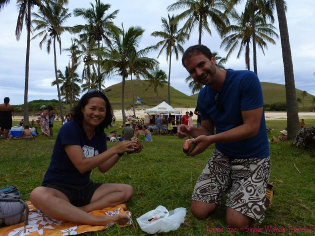 Enjoying the catch of the day with my friend Jason at 2013 Tapati festival on Easter island (Rapa Nui), Chile