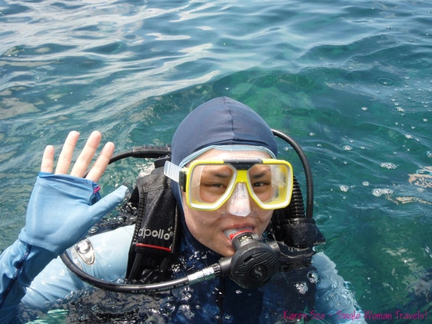 Karen Sze, the single woman scuba diving for the first time in her life!