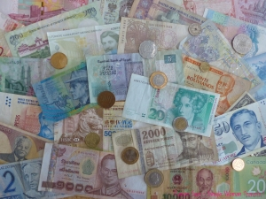 Some of the leftover foreign currencies from my travels.