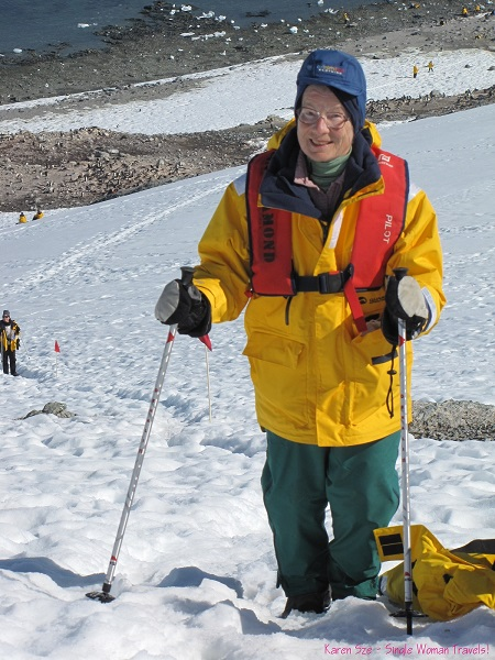 Senior female Antarctica traveler