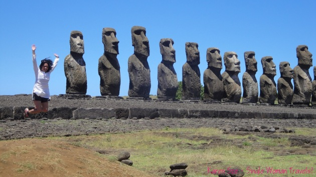 Karen Sze Single Woman jumping with Moai on Easter Island
