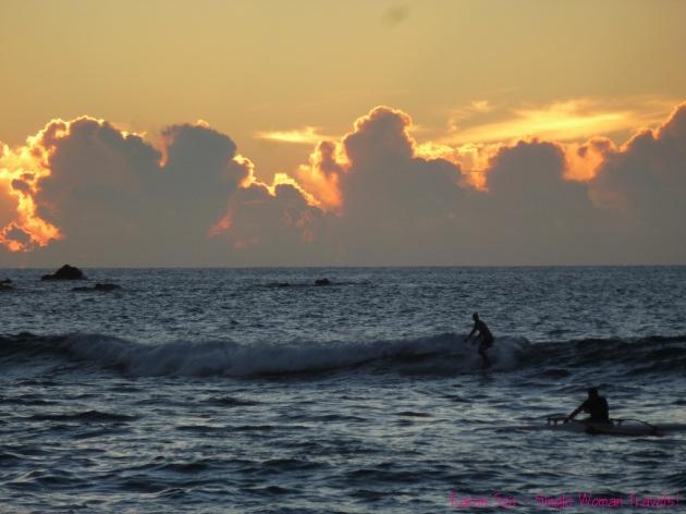 Sunset surfer Rapa Nui 2013 Tapati festival Easter Island Chile