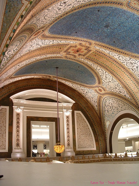 The beautiful mosaic ceiling at Marshall Fields (department store)