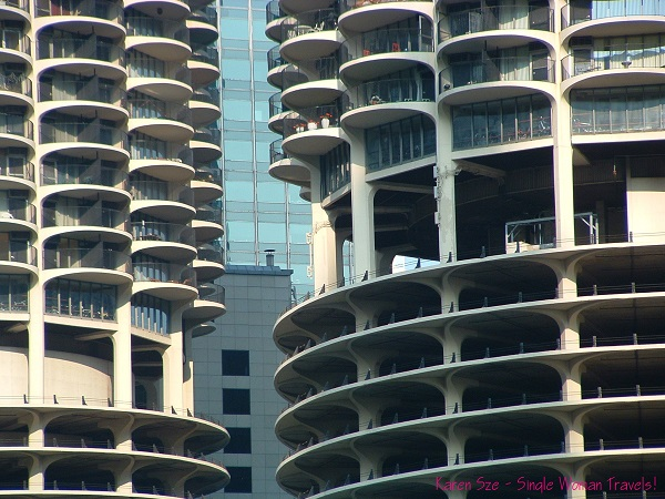 The iconic Marina City mixed-use towers anchors the Chicago river