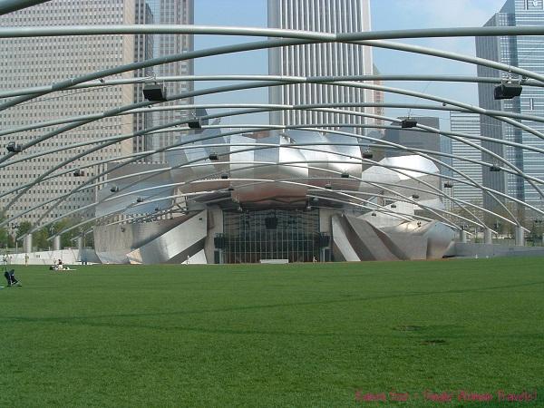 The Jay Pritzker Pavilion at Millennium Park designed by Frank Gehry