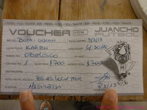 Tourist ticket to Boca Juniors game March 3 2013