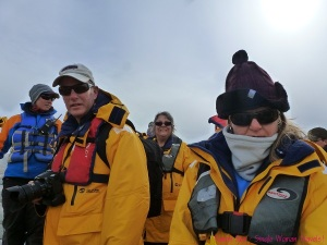 Waiting with my Antarctic friends for our zodiac to take us cruising and hope to find some wildlife