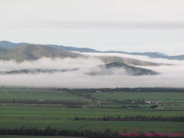 Aerial view of rolling fog in Australia