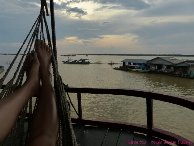 After dinner hammock time on Tonle Sap Lake, Cambodia