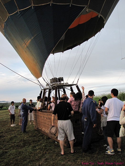 All aboard - ready for a hot air balloon ride