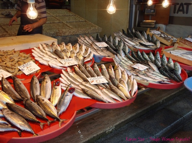 Fresh fish Istanbul market Turkey