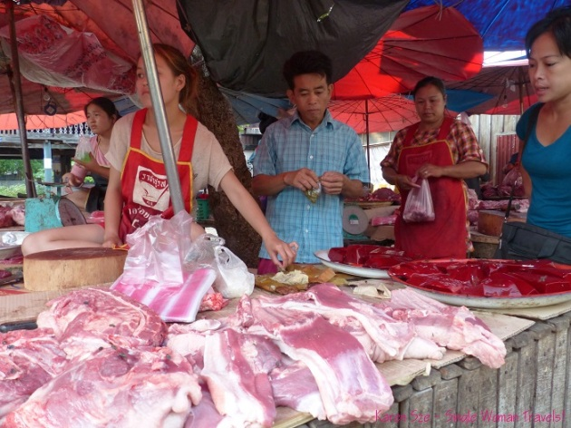 Fresh meat at Morning market in Luang Prabang Laos