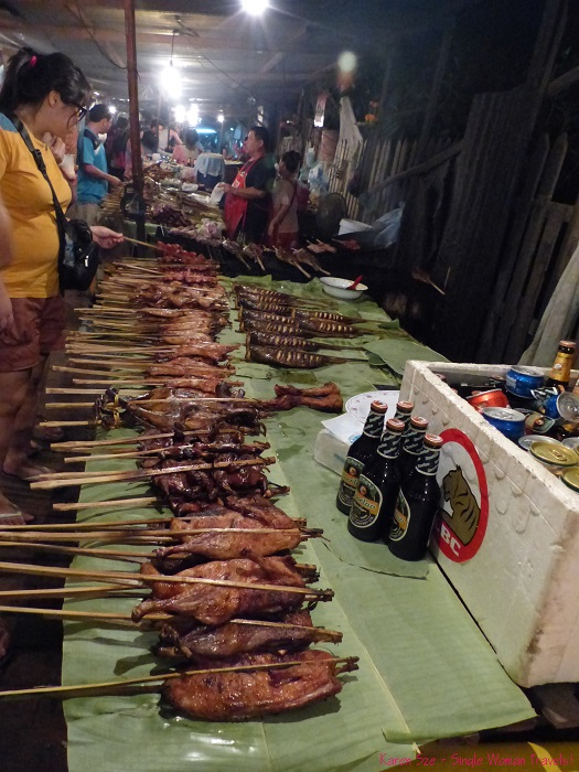 Grilled fish and meat at Night market in Luang Prabang Laos
