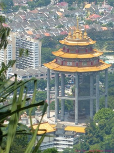 View of Guan Yin pagoda at Kek Lok Si Temple Penang Malaysia