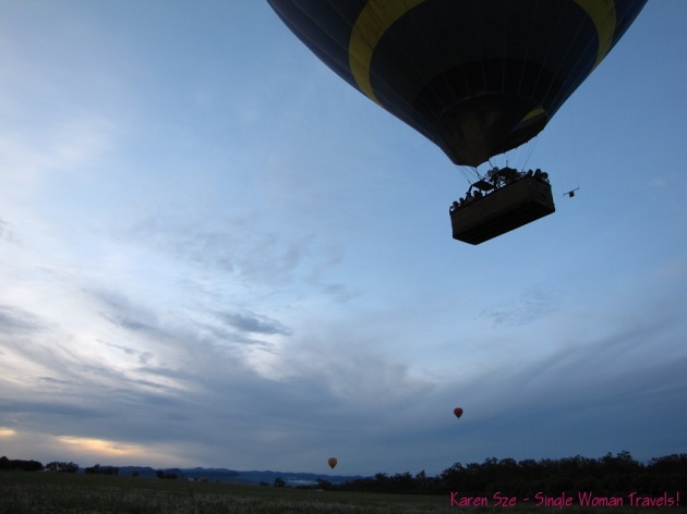 Hot air balloon rising in Australia