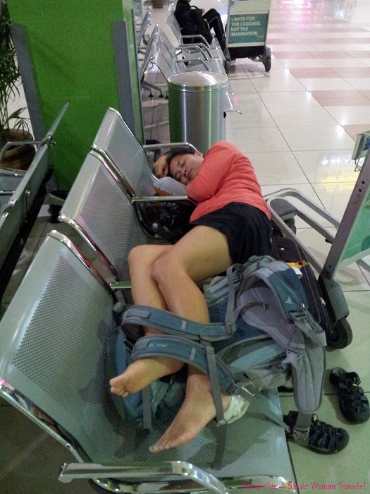 Karen Sze - Single Woman Travels sleeps in airport