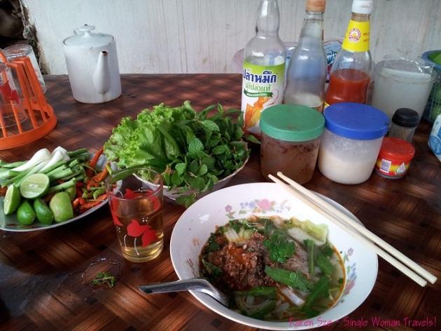Khao soy at local family-owned restaurant in Luang Prabang, Laos