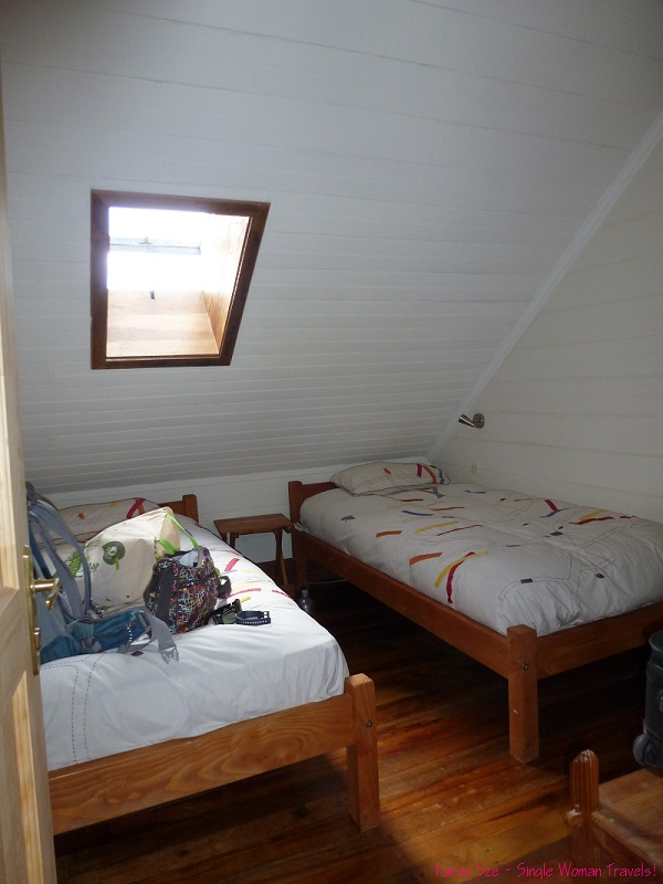 My hostel room with shared bath at Compass Del Sur, Puerto Varas, Chile