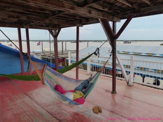 Nap in a hammock on Tonle Sap Lake, Cambodia
