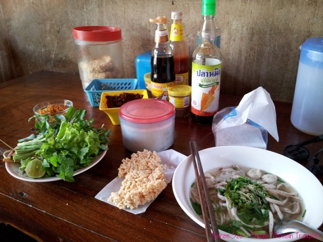 Noodle soup in local family owned restaurant in Luang Prabang Laos