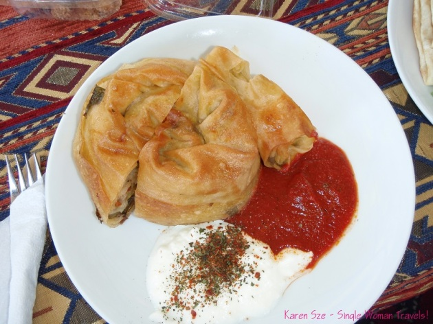 Peynirli Börek, an oven baked spiral pastry filled with village cheese and parsley