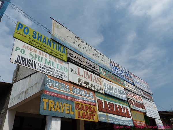 Signage for bus station in Central Java,  Indonesia