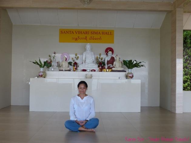 Meditating in Sima Hall at Sitavana Vihara 悉达林, Penang, Malaysia
