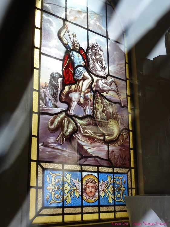 Stained glass of St George and the dragon in Recoleta Cemetery Buenos Aires Argentina