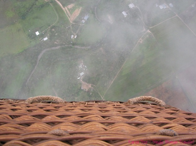 View from hot air balloon basket in Australia