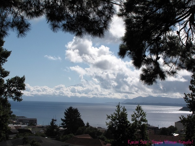 View of Volcán Osorno and Lake Llanquihue from Monte Calvario in Puerto Varas Chile
