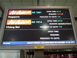 Waiting for flight AK1801 in LCCT Kuala Lumpur Malaysia
