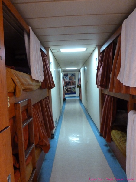 Beds in the hallway of the Navimag